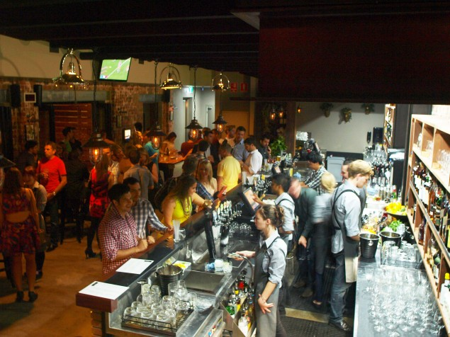 A Bird's Eye View Of The Downstairs Bar
