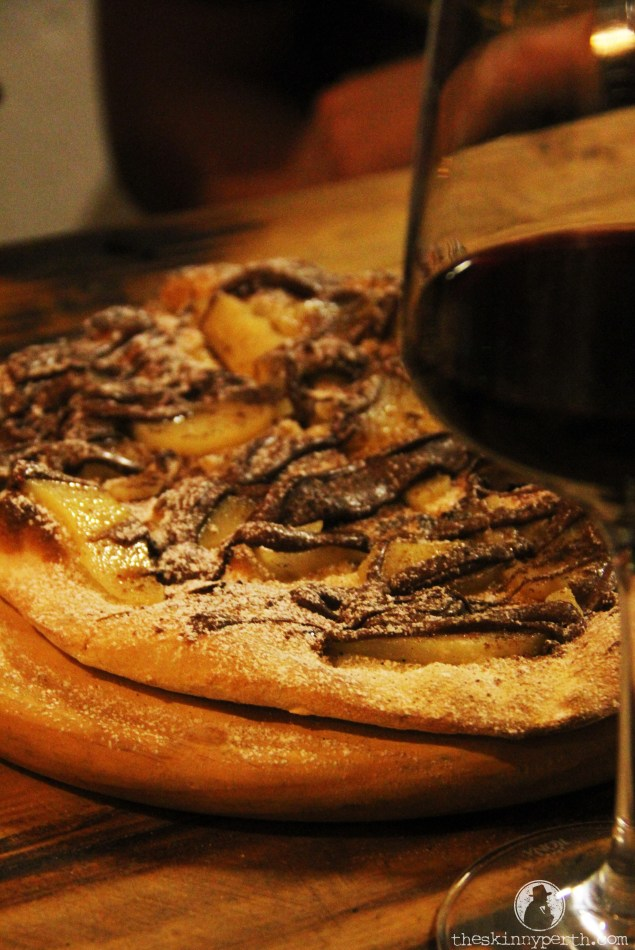 La Dolce Pizza: A Sweet Treat Topped With Caramelised Pear, Nutella & Almonds ($10)