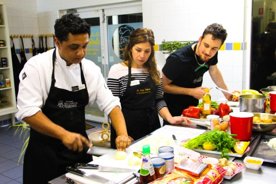 David Manuel Teaching Some Eager Pupils A Few Tips And Tricks In The Kitchen